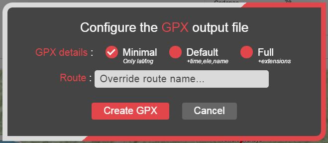 The configuration window for the GPX output