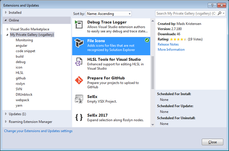 The VS-Gallery running inside of Visual Studio's Extension Manager