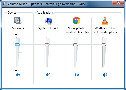 The Volume Mixer panel from Windows 7, the master volume is the Speaker far to the left. Then each application can be controlled individually if need be.