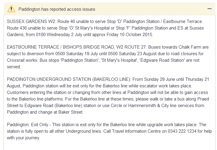 TFL website information for Paddington station<br>(only the past paragraph is what is available in TrackerNet)